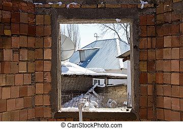 brique, vue, salle, fenêtre