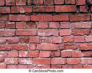 briques, arrière-plan rouge