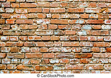 briques, arrière-plan., vieux, rouges