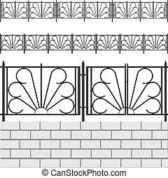briques, barrière blanche
