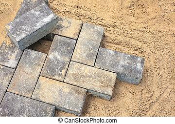 briques, construction, gris, site