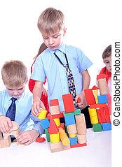 briques, enfants jouer