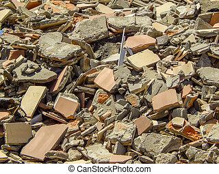 briques, entiers, sacs, déchets, maison, matériel, décombres, débris, tas, démoli, construction, gaspillage