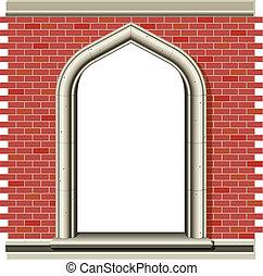 briques, fenêtre voûtée