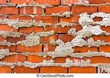 briques, fond, texture, rouges