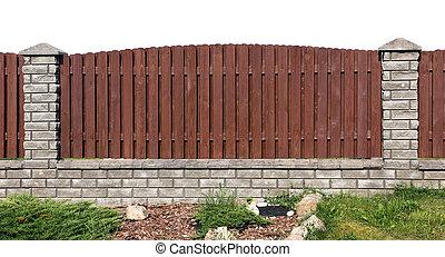 briques, fragment, barrière, planches