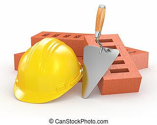 briques, hardhat, et, trowel., 3d