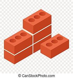 briques, isométrique, 3d, icône