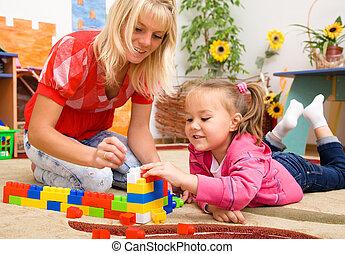 briques, jouer, prof, enfant