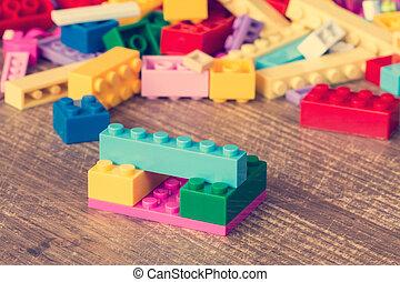 briques, jouet bois, surface