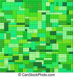 briques jouet, -, couleur, arrière-plan vert