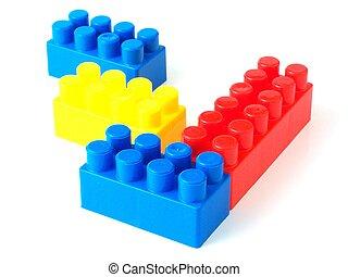 briques, jouet, plastique