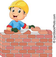 briques, ouvrier, construction, pose