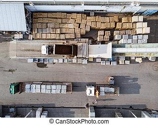briques, paquets béton, et, camions, par, bourdon