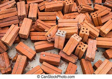 briques, pile, fond, rouges