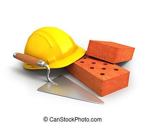 briques, plastique, truelle, jaune, casque