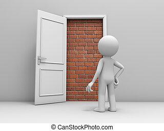 briques, porte