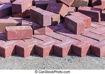 briques, site construction, rouges