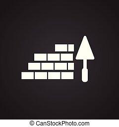 briques, spatule, arrière-plan noir