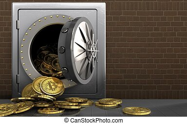 briques, sur, bitcoins, tas, 3d