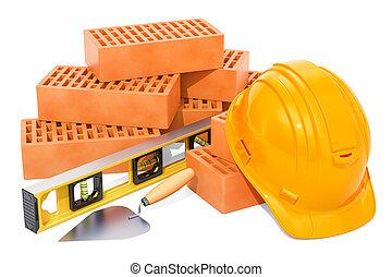 briques, truelle, dur, level., rendre, construction, maçonnerie, concept., chapeau, esprit, 3d