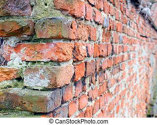 briques, vieux, fond