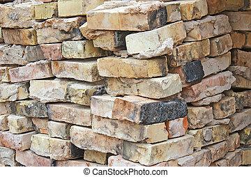 briques, vieux, pile, ruiné
