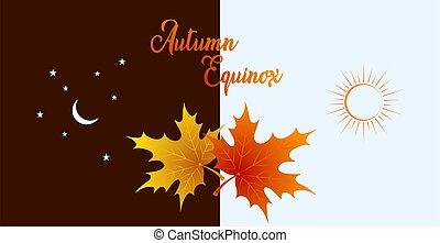 briquet, équinoxe, color., illustration., automne, érable, vecteur, pousse feuilles, concept, septembre, conception, plus sombre, 22.