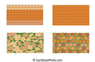 briquetage, motifs, arrière-plan vert, blanc, herbe