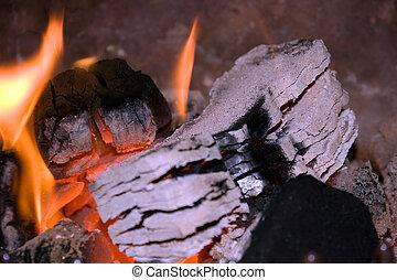 briquetas, turba, blanco, muy caliente