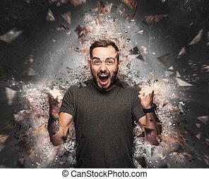 brisé, éléments, concept., exploser, fâché, homme