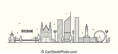 Brisbane skyline, Queensland, Australia. This illustration represents the city with its most notable buildings. Vector is fully editable, every object is holistic and movable