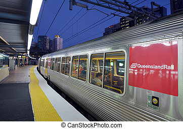Queensland Rail - BRISBANE, AUS - SEP 23 2014:Passengers in ...