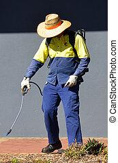Worker sprays plants in city garden - BRISBANE, AUS - SEP 25...