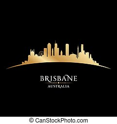 Brisbane Australia city silhouette black background