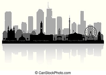Brisbane Australia city skyline silhouette