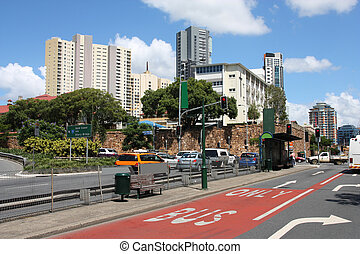 Brisbane, Australia - city street view with skyscrapers in ...