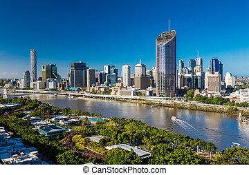 brisbane, australia, -, dec, 29, 2016:, areal, imagen, de,...