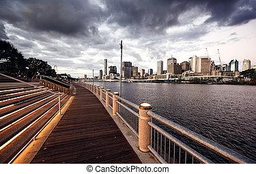Brisbane, Australia - skyline of a contemporary skyscraper ...