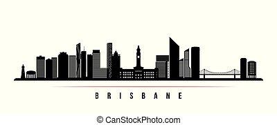 Brisbane city skyline horizontal banner. Black and white silhouette of Brisbane city, Australia. Vector template for your design.