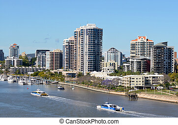 brisbane, fluß, queensland, australia