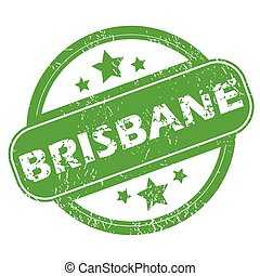 Round green rubber stamp with name Brisbane and stars, isolated on white