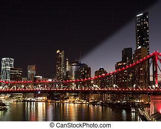 Brisbane, horisont, skymning, Natt