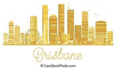 brisbane, horizonte cidade, dourado, silhouette.