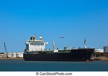 brisbane, lubrifique navio-tanque, deduziu, em, porto