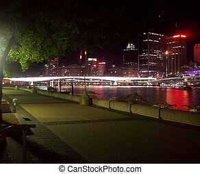 brisbane, nacht, skyline