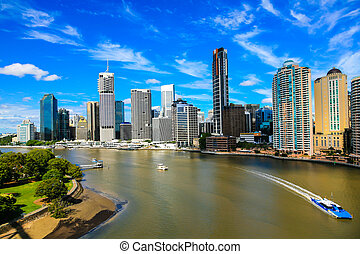 Brisbane River and City - Brisbane City, east side, looking ...