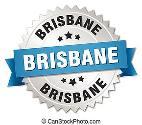 Brisbane round silver badge with blue ribbon