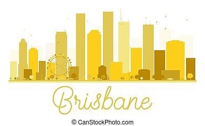 brisbane, skyline città, dorato, silhouette.