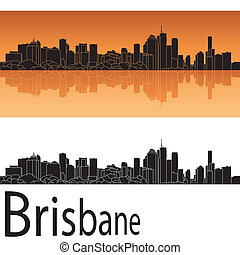 Brisbane skyline in orange background in editable vector ...